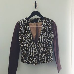 Vintage leopard print blazer w/leather sleeves S.